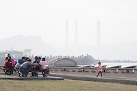 Tourists visit the Ho Ping Island Hi Park in Keelung, Taiwan, 2015. The park used to be under the military control for a long period of time. However, the ban was gradually lifted in the 1960s and 1970s. Since then, more tourists have come to the area. Keelung is a major port city situated in the northeastern part of Taiwan. The city is Taiwan's second largest seaport.