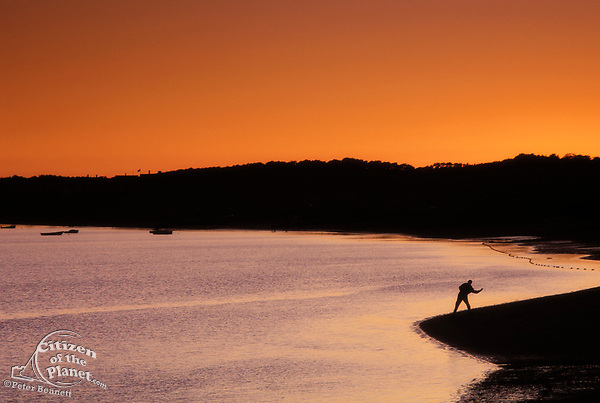 Skipping stones in Wellfleet Harbor, Cape Cod, Massachusetts, USA