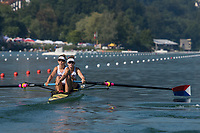Lucerne, SWITZERLAND, 13th July 2018, Friday USA 2., W2-, Bow, Kristine O'BRIAN and Felice MUELLER,  at the Start, , FISA World Cup series, No.3, Lake Rotsee, Lucerne, © Peter SPURRIER,