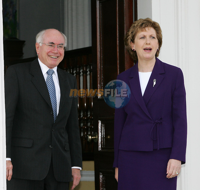 Dublin Ireland..Australian PM John Howard shakes hands with Irish President Mary McAleese at çras an Uachtar‡in . 23/5/06 PM Howard is on a four day visit to Ireland..Photo AFP/NEWSFILE/FRAN CAFFREY..(Photo credit should read AFP PHOTO/FRAN CAFFREY/NEWSFILE)...This Picture has been sent you under the condtions enclosed by:.Newsfile Ltd..the Studio,.Millmount Abbey,.Drogheda,.Co Meath..Ireland..Tel: +353(0)41-9871240.Fax: +353(0)41-9871260.GSM: +353(0)86-2500958.email: pictures@newsfile.ie.www.newsfile.ie.FTP: 193.120.102.198..This picture is from Fran Caffrey@newsfile.ie