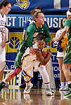 BROOKINGS, SD - FEBRUARY 6:  Alexis Alexander #1 from South Dakota State controls the ball as Emily Spier #30 from North Dakota State reaches in Saturday afternoon at Frost Arena in Brookings. (Photo by Dave Eggen/Inertia)