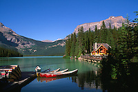 Yoho National Park, Canadian Rockies, BC, British Columbia, Canada - Rental Canoes and Restaurant at Emerald Lake, Summer