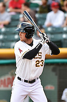 Brennan Boesch (23) of the Salt Lake Bees at bat against the Fresno Grizzlies at Smith's Ballpark on April 9, 2014 in Salt Lake City, Utah.  (Stephen Smith/Four Seam Images)