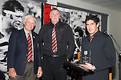 Counties Manukau B's Player of the Year Jamie Metcalfe with Vic Hinton & George Cunningham. CMRFU Senior prize giving held at Growers Stadium on Wednesday 22nd of October 2008.