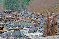 Flood-damaged Westside Road above Milepost 3, after the November, 2006 flood, Mount Rainier National Park, Washington State