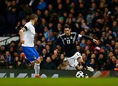 23rd March 2018, Etihad Stadium, Manchester, England; International Football Friendly, Italy versus Argentina; Angel Di María of Argentina runs at Leonardo Bonucci of Italy
