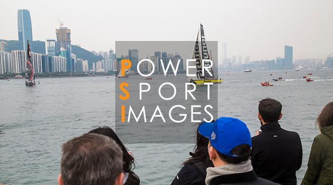 Race Re-start for the Volvo Ocean Race 2017-18 at Royal Hong Kong Yacht Club on 07 February 2018, in Hong Kong, Hong Kong. Photo by Yuk Man Wong / Power Sport Images