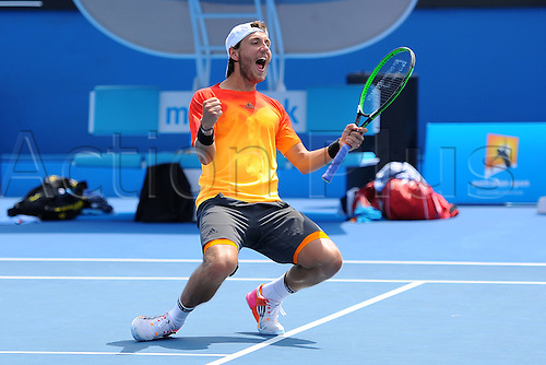 26.01.2016. Melbourne Park, Melbourne, Australia. Australian Open Tennis Championships.  Quarter-finals day.  Lucas Pouille (FRA) and<br /> Adrian Mannarino (FRA) beat J S Cabal (COL) and R Farah (COL)  in the mens doubles