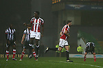 Jack O'Connell of Sheffield Utd runs to celebrate his goal during the Checkatrade Trophy match at Blundell Park Stadium, Grimsby. Picture date: November 9th, 2016. Pic Simon Bellis/Sportimage