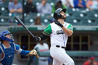 Daniel Palka (7) of the Caballeros de Charlotte follows through on his swing against the Buffalo Bisons at BB&T BallPark on July 23, 2019 in Charlotte, North Carolina. The Bisons defeated the Caballeros 8-1. (Brian Westerholt/Four Seam Images)