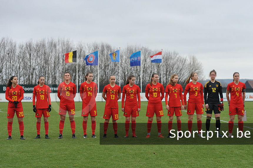 20190206 - TUBIZE , BELGIUM : Blelgian team with Luna Vanzeir (20)   Jill Janssens (19)   Tine Lemmens (15)   Sterre Gielen (14)   Marith De Bondt (13)   Sien Vandersanden (11)   Hannah Eurlings (10)   Jarne Teulings (7)   Emilie Claerbout (3)   Femke Schamp (12)   Lra Cordier (4)  pictured during the friendly female soccer match between Women under 17 teams of  Belgium and The Netherlands , in Tubize , Belgium . Wednesday 6th February 2019 . PHOTO SPORTPIX.BE DIRK VUYLSTEKE
