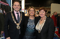 NO FEE PICTURES.25/1/13 Maureen Ledwith, Director Holiday World, Lord Mayor of Dublin is Naoise Ó Muirí and Clare Dunne, President ITAA with Sonia Limbrick  at the Holiday World Show at the RDS, Dublin. Picture:Arthur Carron/Collins