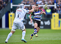 George Ford of Bath Rugby puts boot to ball. Aviva Premiership match, between Bath Rugby and Exeter Chiefs on October 17, 2015 at the Recreation Ground in Bath, England. Photo by: Patrick Khachfe / Onside Images