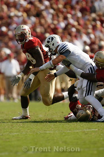 Trent Nelson  |  The Salt Lake Tribune.BYU quarterback Jake Heaps (9) fumbles the ball in the second quarter, BYU vs. Florida State, college football Saturday, September 18, 2010 at Doak Campbell Stadium in Tallahassee, Florida.