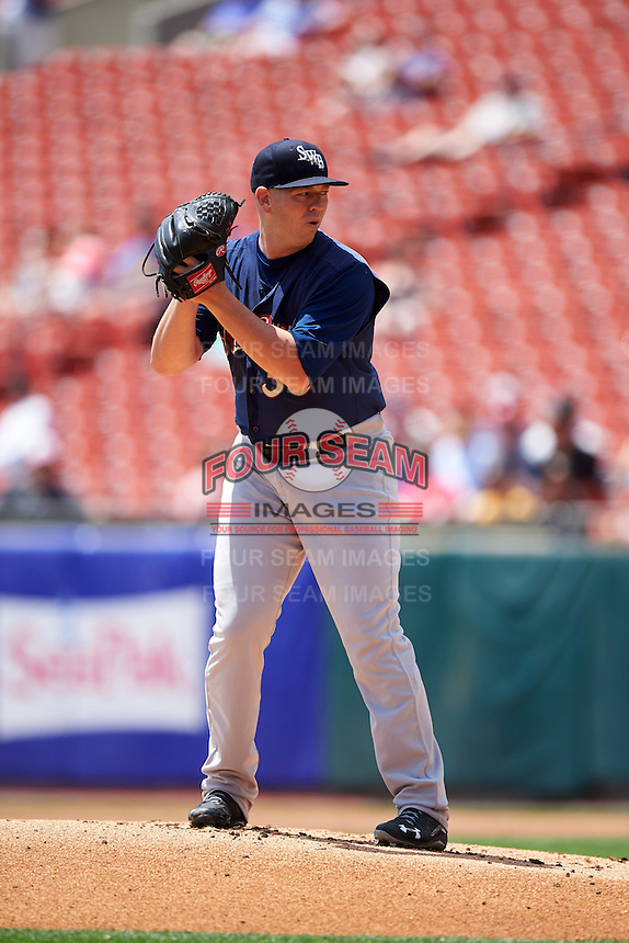 Scranton/Wilkes-Barre RailRiders starting pitcher Johnny Barbato (36) gets ready to deliver a pitch during a game against the Buffalo Bisons on July 2, 2016 at Coca-Cola Field in Buffalo, New York.  Scranton defeated Buffalo 5-1.  (Mike Janes/Four Seam Images)