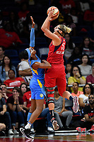 Washington, DC - September 8, 2019: Washington Mystics forward Elena Delle Donne (11) hits a fade away shot over Chicago Sky guard Diamond DeShields (1) during game between the Chicago Sky and Washington Mystics at the Entertainment and Sports Arena in Washington, DC. The Mystics locked up the #1 seed in the Playoffs by defeating the Sky 100-86. (Photo by Phil Peters/Media Images International)