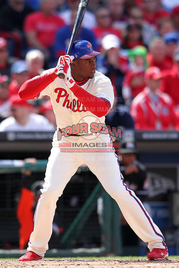 Philadelphia Phillies first baseman John Mayberry #15 during their home opener against the Miami Marlins at Citizens Bank Park on April 9, 2012 in Philadelphia, Pennsylvania.  Miami defeated Philadelphia 6-2.  (Mike Janes/Four Seam Images)