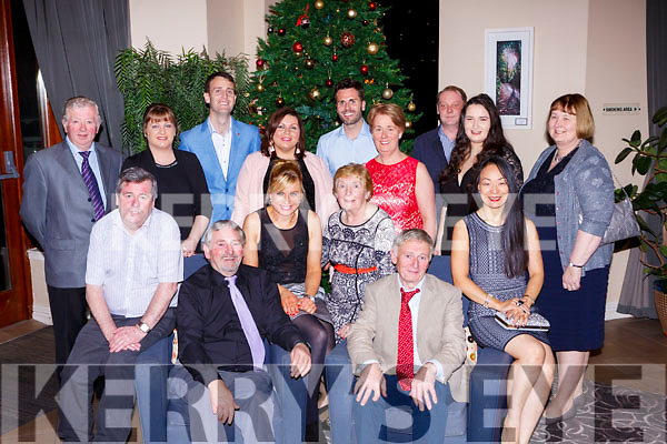 The Staff of the Red Fox Inn Glenbeigh at their staff party in the Brehon Hotel on Friday night front row l-r: Mossie Pierce, Con Mullvihill, Catriona O'Leary, Kathleen Joy, John and Chris Mullvihill. Back row: Pat Griffin, Rachel Hannon, Tim Mullvihill, Aoibheann Twiss, Jerry and Olive Mullvihill, Emma Murphy, Johhny O'Shea and Noreen Griffin