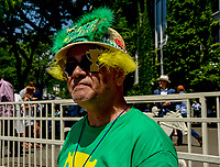 ELMONT, NY - JUNE 09: Fan wears a decorative hat on Belmont Stakes Day at Belmont Park on June 9, 2018 in Elmont, New York. (Photo by Eric Patterson/Eclipse Sportswire/Getty Images)