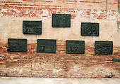 Venice, Italy - March 24, 2006 -- Holocaust memorials on both sides of the Casa di Riposa building in the Campo de Gheto Novo (Jewish Ghetto) in Venice, Italy were designed by sculptor Arbit Blatas.  Jews were gathered for deportation in the square by the Nazis. One of the monuments are bronze reliefs that show the Nazi brutality against the Jews..Credit: Ron Sachs / CNP