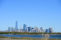 The New York skyline from the 10th hole during round 1 foursomes of the 2017 President's Cup, Liberty National Golf Club, Jersey City, New Jersey, USA. 9/28/2017.<br /> Picture: Golffile | Ken Murray<br /> ll photo usage must carry mandatory copyright credit (&copy; Golffile | Ken Murray)