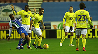 Blackburn Rovers' Adam Armstrong with Wigan Athletic's James Vaughan and Blackburn Rovers' Ryan Nyambe<br /> <br /> Photographer Rachel Holborn/CameraSport<br /> <br /> The EFL Sky Bet Championship - Wigan Athletic v Blackburn Rovers - Wednesday 28th November 2018 - DW Stadium - Wigan<br /> <br /> World Copyright © 2018 CameraSport. All rights reserved. 43 Linden Ave. Countesthorpe. Leicester. England. LE8 5PG - Tel: +44 (0) 116 277 4147 - admin@camerasport.com - www.camerasport.com