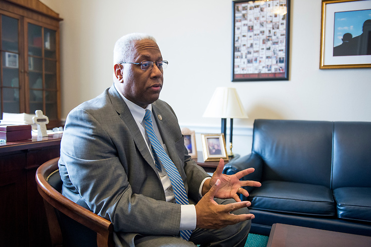 UNITED STATES - MARCH 15: Rep. Donald McEachin, D-Va., speaks to a reporter in his office on Wednesday, March 15, 2017. (Photo By Bill Clark/CQ Roll Call)