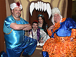 Ben Kierans as Aladdin and Roisín McArdle as the princess with Mark McArdle and Brendan McGrath in the Togher Theatre Group's Panto Aladdin in St Mary's Hall Drumcar. Photo:Colin Bell/pressphotos.ie