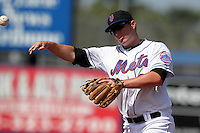 New York Mets Brad Emaus #68 during an exhibition game vs the Michigan Wolverines at Digital Domain Ballpark in Port St. Lucie, Florida;  February 27, 2011.  New York defeated Michigan 7-1.  Photo By Mike Janes/Four Seam Images