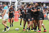 David Fusitua celebrates his try with team mates.<br /> NRL Premiership. Vodafone Warriors v Gold Coast Titans. Mt Smart Stadium, Auckland, New Zealand. March 17 2018. &copy; Copyright photo: Andrew Cornaga / www.Photosport.nz