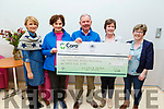 Members of the Killorglin and Fossa Set dancers group presenting a cheque of €1,735 from a day fundraiser, to the Kerry Hospice in UHK on Monday.<br /> L to r: Niamh Clifford, Mary Shanahan (Kerry Hospice), Joe Hennebry, Catherine Joy and Theresa Ahern.