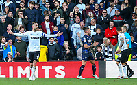 Derby County's Richard Keogh reacts to referee Craig Pawson's decision to reverse the penalty <br /> <br /> Photographer Alex Dodd/CameraSport<br /> <br /> The EFL Sky Bet Championship Play-off  First Leg - Derby County v Leeds United - Thursday 9th May 2019 - Pride Park - Derby<br /> <br /> World Copyright © 2019 CameraSport. All rights reserved. 43 Linden Ave. Countesthorpe. Leicester. England. LE8 5PG - Tel: +44 (0) 116 277 4147 - admin@camerasport.com - www.camerasport.com