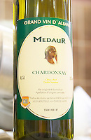 Bottle, detail of label, Medaur Cuvee de l'Amitiee Grand Vin d'Albanie Chardonnay Kantina Miqesia Koplik Kantina Miqesia or Medaur winery, Koplik. Albania, Balkan, Europe.