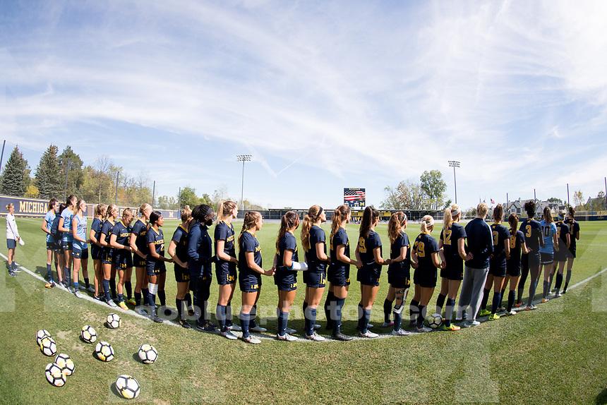 The University of Michigan women's soccer team draws with Nebraska, 1-1 (2OT) at the UM Soccer Complex in Ann Arbor, MI on October 1, 2017.