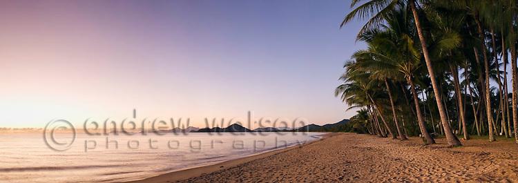 View along Palm Cove beach at dawn.  Cairns, Queensland, AUSTRALIA