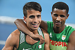 (L-R) Abdellatif Baka (ALG), Tamiru Demisse (ETH), <br /> SEPTEMBER 11, 2016 - Athletics : <br /> Men's 1500m T13 Final <br /> at Olympic Stadium<br /> during the Rio 2016 Paralympic Games in Rio de Janeiro, Brazil.<br /> (Photo by AFLO SPORT)