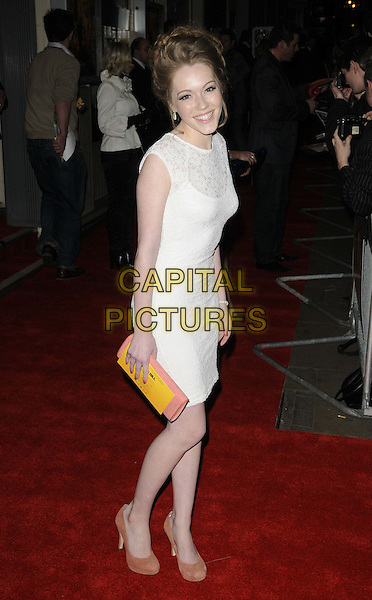 Charlotte Spencer.The 'Wild Bill' UK film premiere, Cineworld Cinemas, Haymarket, London, England..March 20th, 2012.full length white sleeveless lace dress orange clutch bag.CAP/CAN.©Can Nguyen/Capital Pictures.