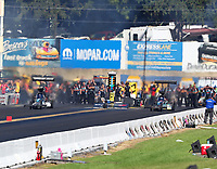 Sep 16, 2018; Mohnton, PA, USA; NHRA top fuel driver Dom Lagana (left) alongside Scott Palmer during the Dodge Nationals at Maple Grove Raceway. Mandatory Credit: Mark J. Rebilas-USA TODAY Sports