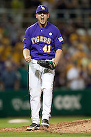 LSU Tigers pitcher Nick Goody #41 celebrates recording the final out against the Mississippi State Bulldogs in the NCAA baseball game on March 17, 2012 at Alex Box Stadium in Baton Rouge, Louisiana. The 10th-ranked LSU Tigers beat #21 Mississippi State, 4-3. (Andrew Woolley / Four Seam Images).