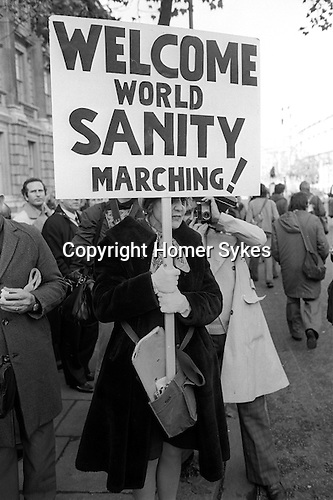 Peace Movement. Peace People. Peace March. Hyde Park to Trafalgar Square. 1976, demonstrator supporting the Peace Movement. 1976