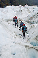 group of tourists walking on Franz Josef glacier, New Zelaand