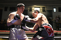 Alan Rattib (silver shorts) defeats Myles Vane during a Boxing Show at York Hall on 14th April 2018