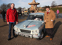 Douglas Anderson (right) area organiser with engineer Jim Wilson at the Start of the Rallye Monte Carlo Historique 2013 and his Triumph Vitesse which started at the People's Palace, Glasgow on 26.1.13.