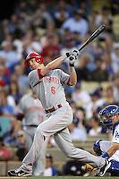 Drew Stubbs #6 of the Cincinnati Reds bats against the Los Angeles Dodgers at Dodger Stadium on July 3, 2012 in Los Angeles, California. Los Angeles defeated Cincinnati 3-1. (Larry Goren/Four Seam Images)