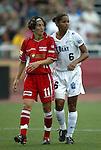 2 August 2003: Marinette Pichon (11) and Sharolta Nonen (6). The Philadelphia Charge defeated the Atlanta Beat 3-0 at Villanova Stadium in Villanova, PA in a regular season WUSA game.