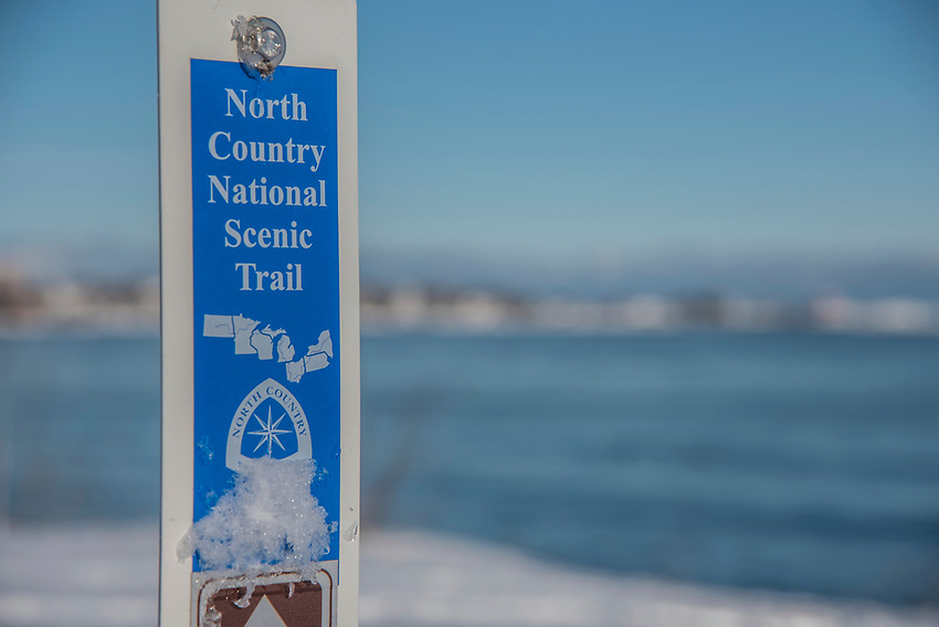 Sign for North Country Trail in winter