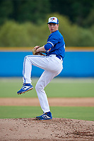 GCL Blue Jays pitcher Sem Robberse (9) during a Gulf Coast League game against the GCL Tigers West on August 3, 2019 at the Englebert Complex in Dunedin, Florida.  GCL Blue Jays defeated the GCL Tigers West 4-3.  (Mike Janes/Four Seam Images)