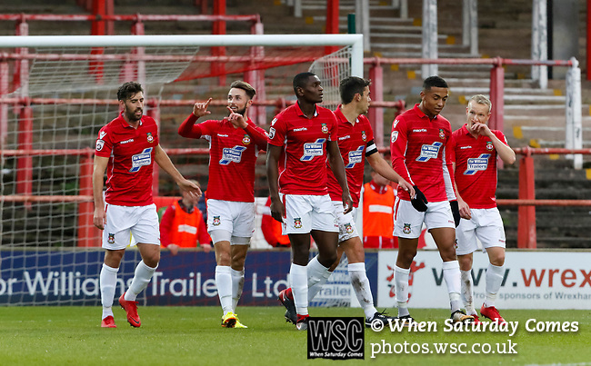 Wrexham 2 Ebbsfleet United 0, 18/11/2017. The Racecourse Ground, National League. Goal celebration by Chris Holroyd of Wrexham. Photo by Paul Thompson.
