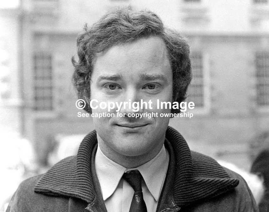 David Smyth, candidate, Pro-Assembly Ulster Unionist, North Belfast, UK General Election, February 1974. 197402000120<br /> <br /> Copyright Image from Victor Patterson, 54 Dorchester Park, Belfast, UK, BT9 6RJ<br /> <br /> Tel: +44 28 9066 1296<br /> Mob: +44 7802 353836<br /> Voicemail +44 20 8816 7153<br /> Email: victorpatterson@me.com<br /> Email: victorpatterson@gmail.com<br /> <br /> IMPORTANT: My Terms and Conditions of Business are at www.victorpatterson.com