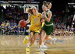 SIOUX FALLS, SD - MARCH 7: Sydney Stapleton #35 of the South Dakota State Jackrabbits drives to the basket around Megan Zander #22 of the North Dakota Fighting Hawks at the 2020 Summit League Basketball Championship in Sioux Falls, SD. (Photo by Dave Eggen/Inertia)